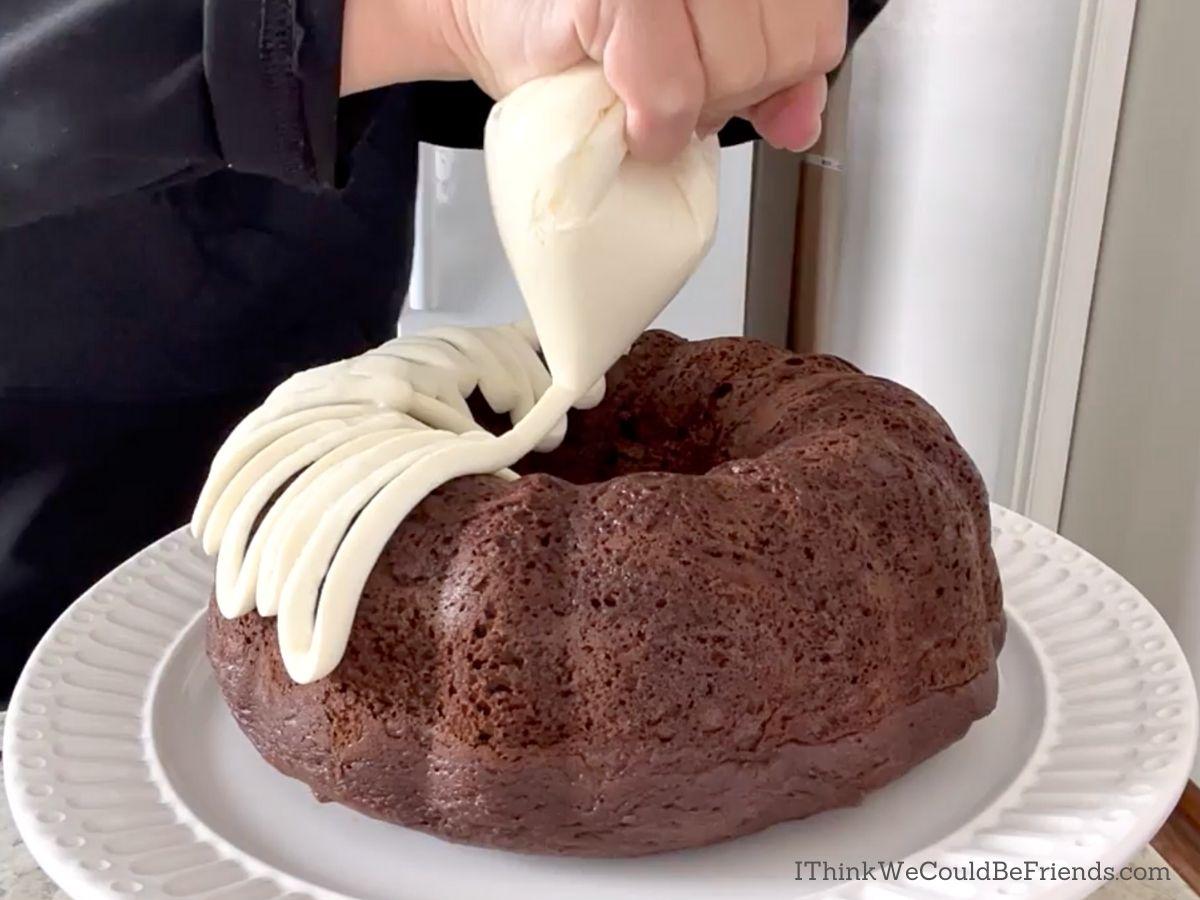 easter basket Bundt Cake, starting 1st icing layer