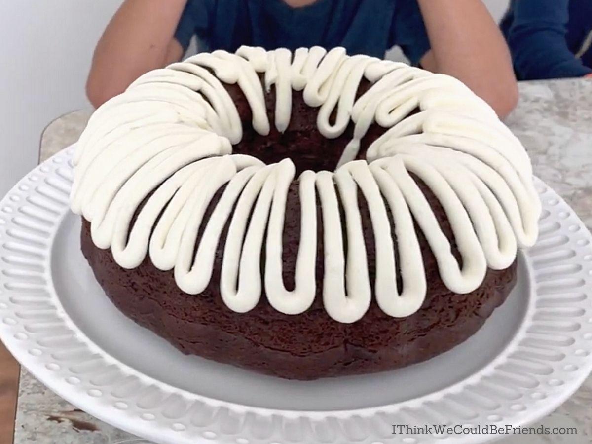easter basket Bundt Cake, first icing layer complete
