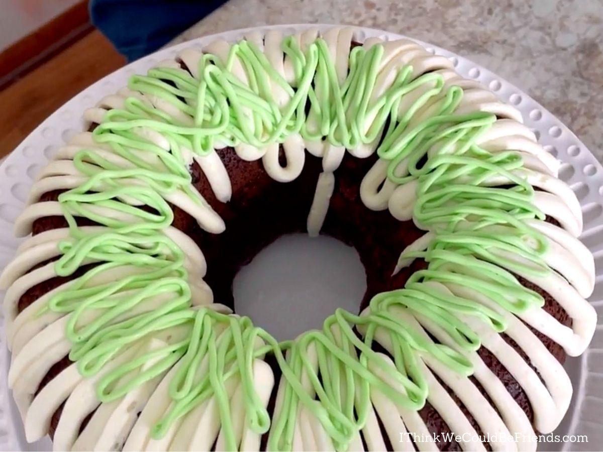 easter basket Bundt Cake, starting second icing layer