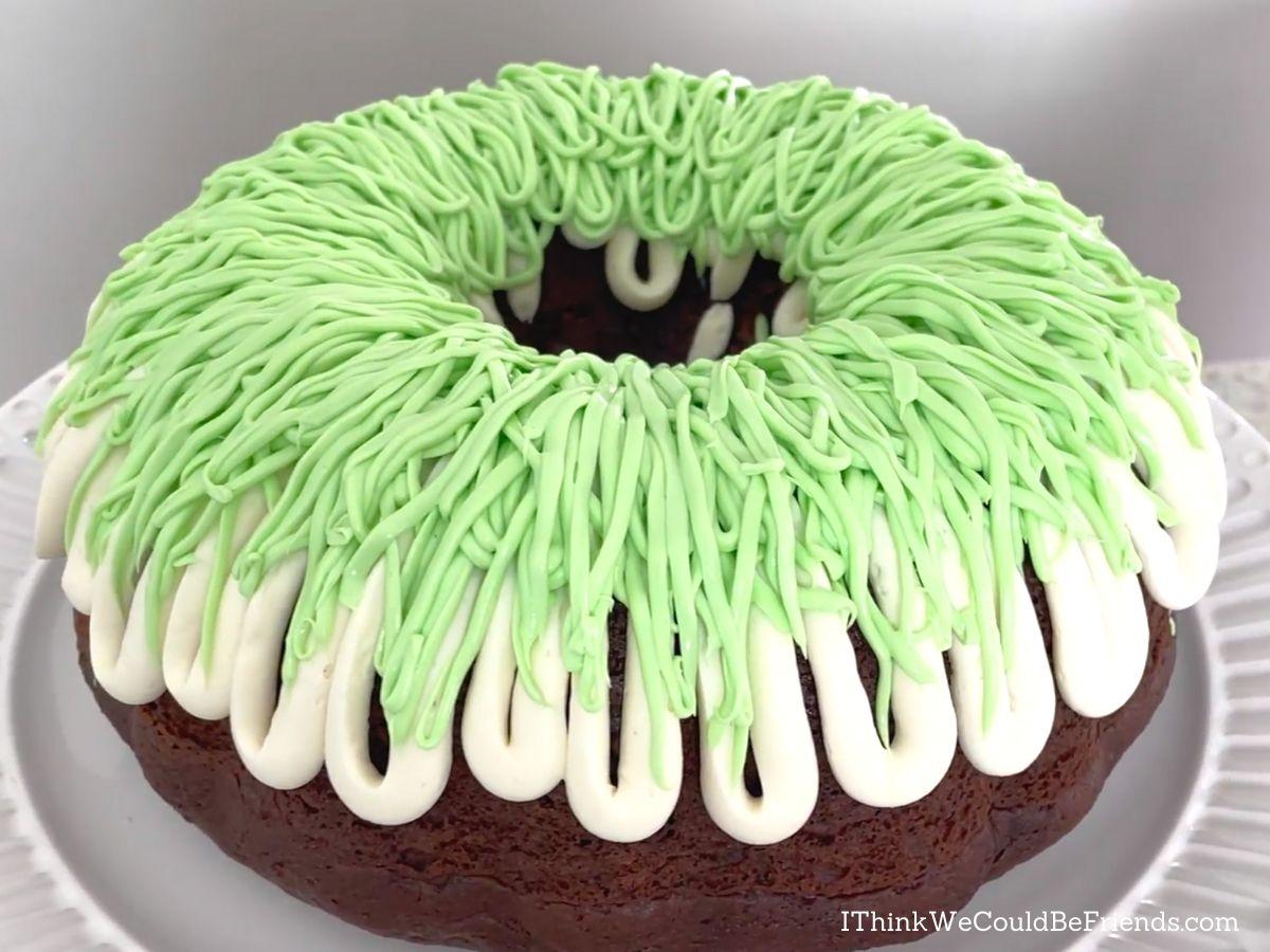 easter basket Bundt Cake, icing finished