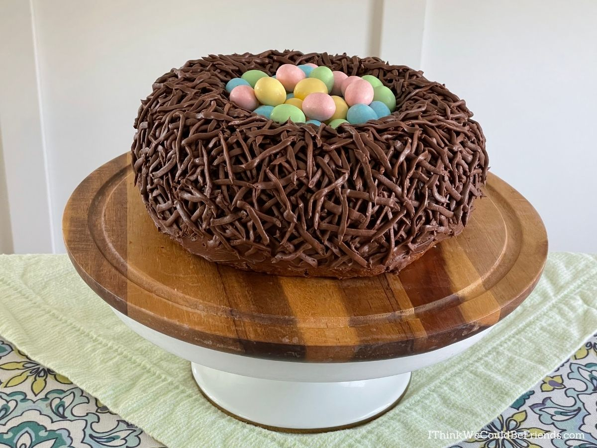 easter nest bundt cake with candy eggs