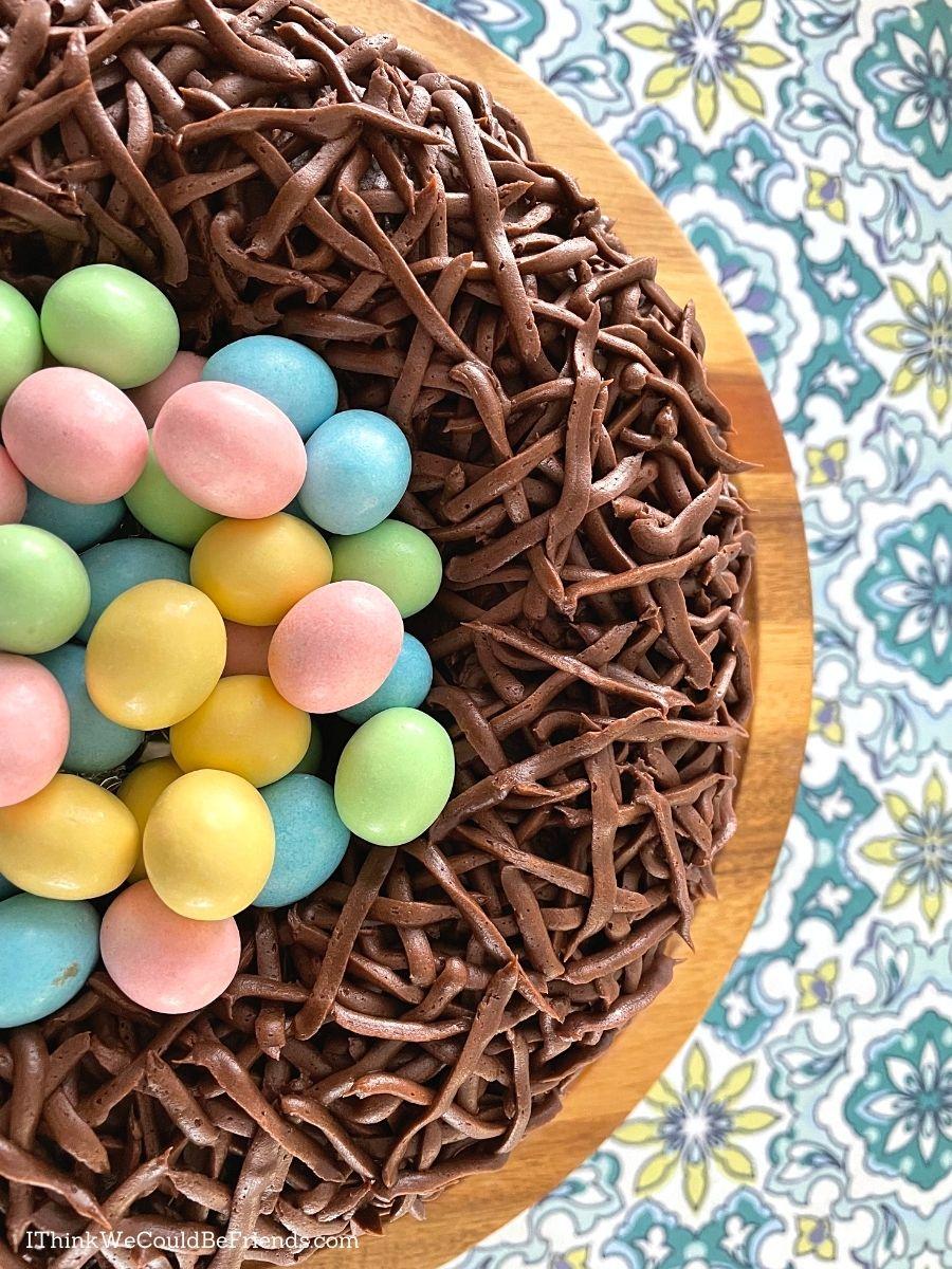 nest bundt cake with candy eggs, closeup