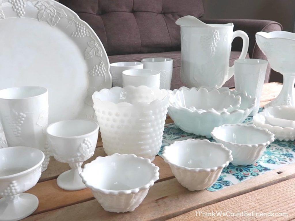 white milk glass dishes