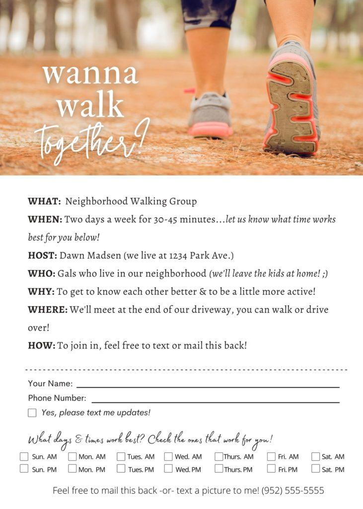 walking club flyer
