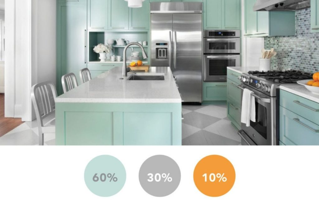 mint green kitchen with decluttering tip: 60-30-10