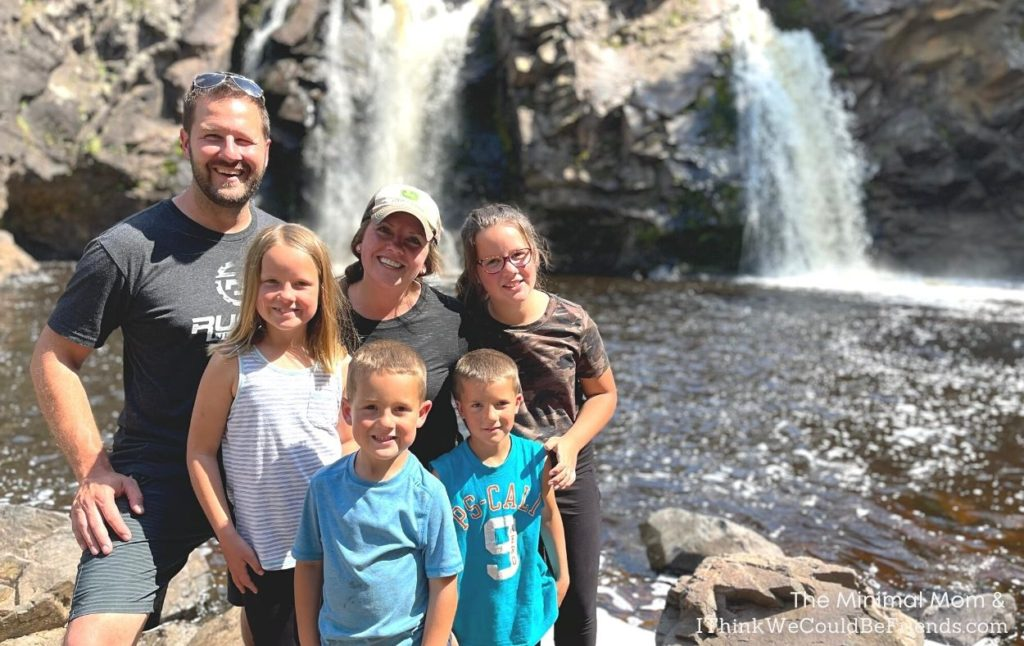 family photo at waterfall