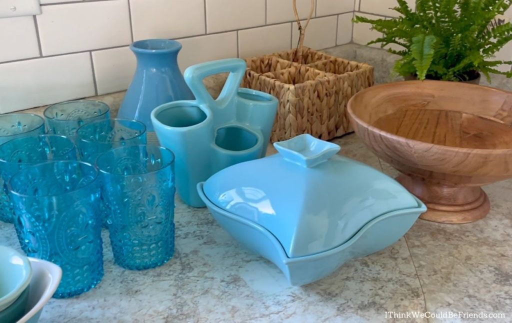blue and brown decor items
