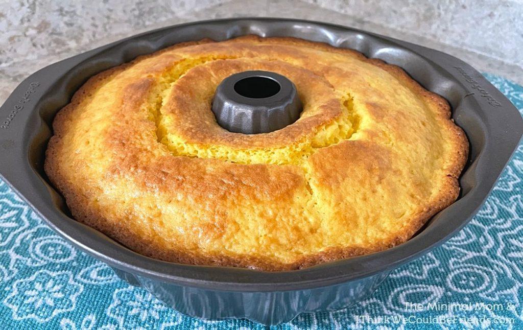 lemon bundt cake, baked in pan