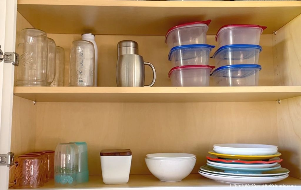 dishes in kitchen cupboard