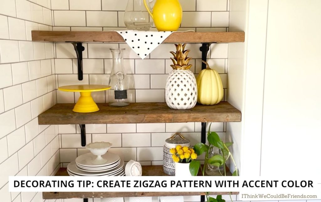 open shelving with yellow decor