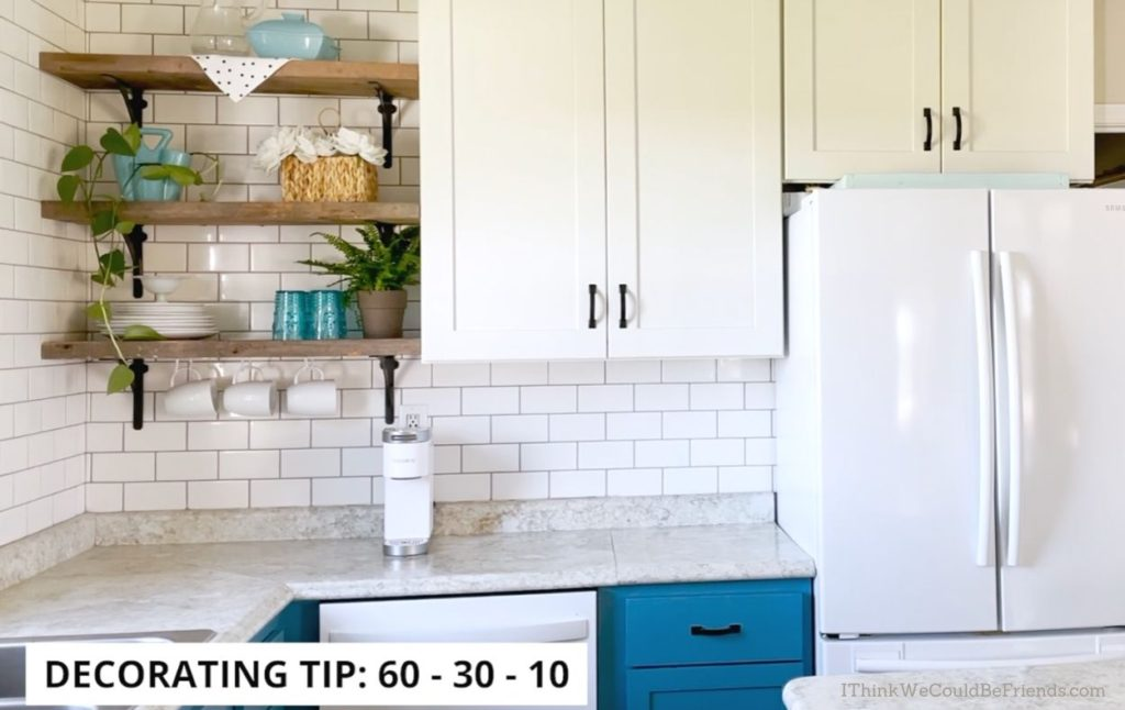 decluttered kitchen with decorating tip