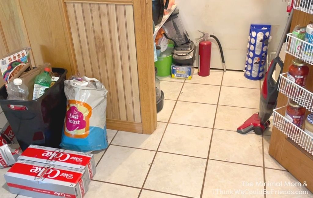 declutter pantry with small pile
