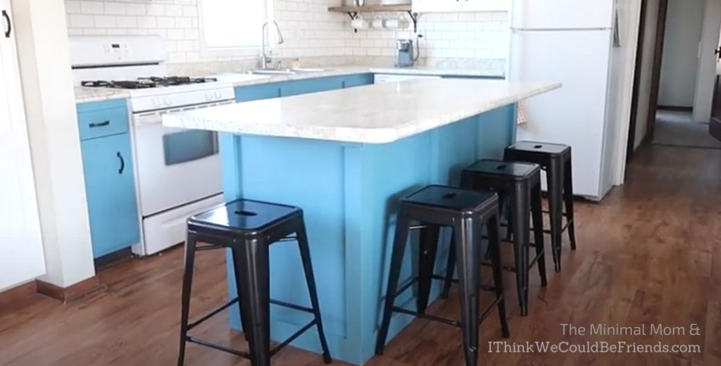 kitchen with black barstools