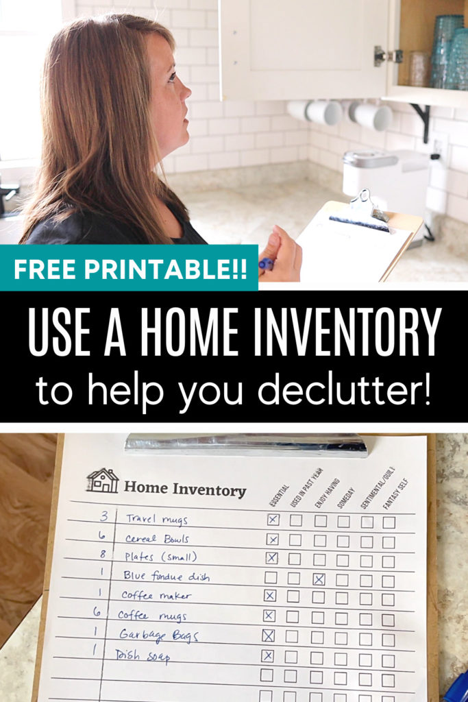 pin, use a home inventory to help you declutter