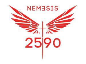 Nemesis Logo - Modern wings + sword - red w 2590