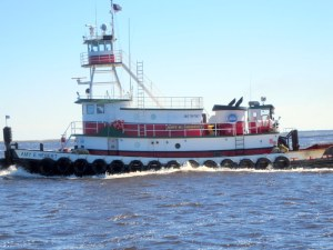 Tug Pulling a Barge Up the Cape Fear River