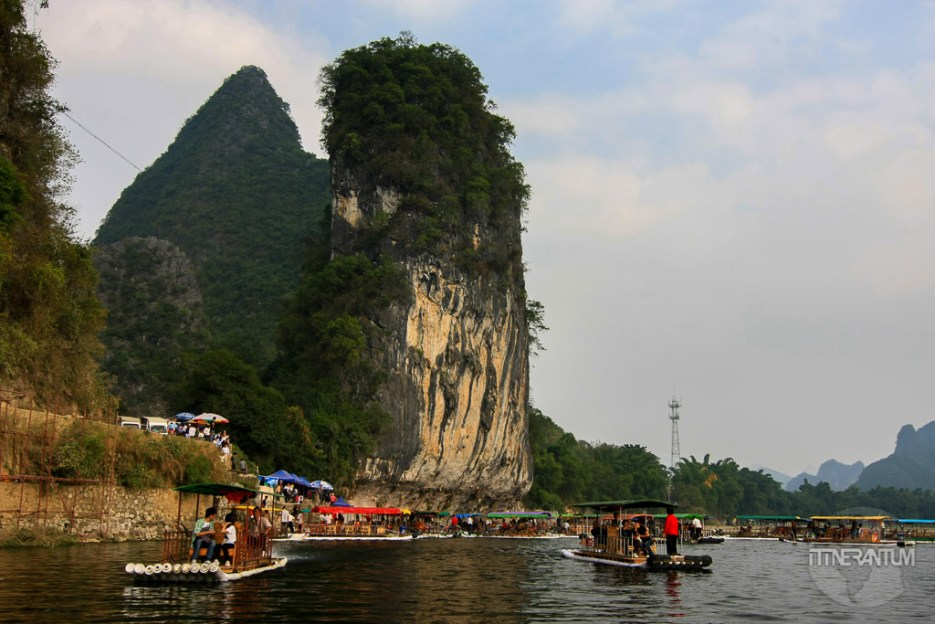 the disembarking place on the Li River cruise