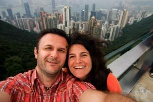 a selfie with Hong Kong skyline