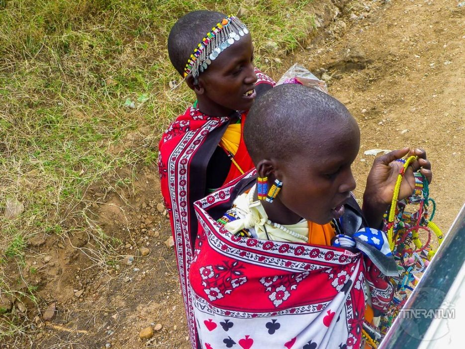 Masai girls trying to sell their art work