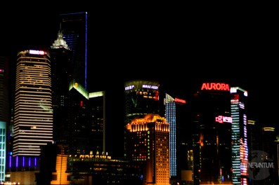 Shanghai - panoramic view of Pudong from the Bund by night