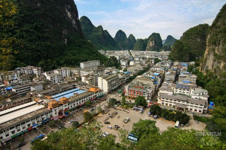 View over the city of Yangshuo from a nearby hill