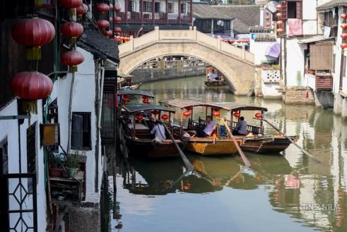 Boats waiting for tourists in Zujiajiao
