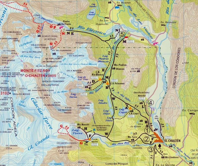 map of El Chalten trails