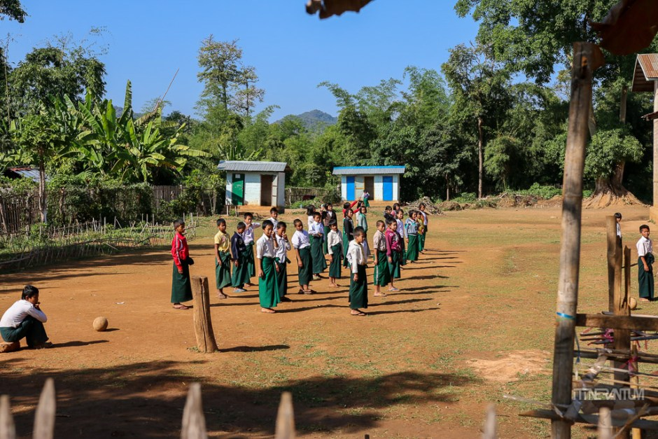 All classroom doing morning exercise, myanmar people