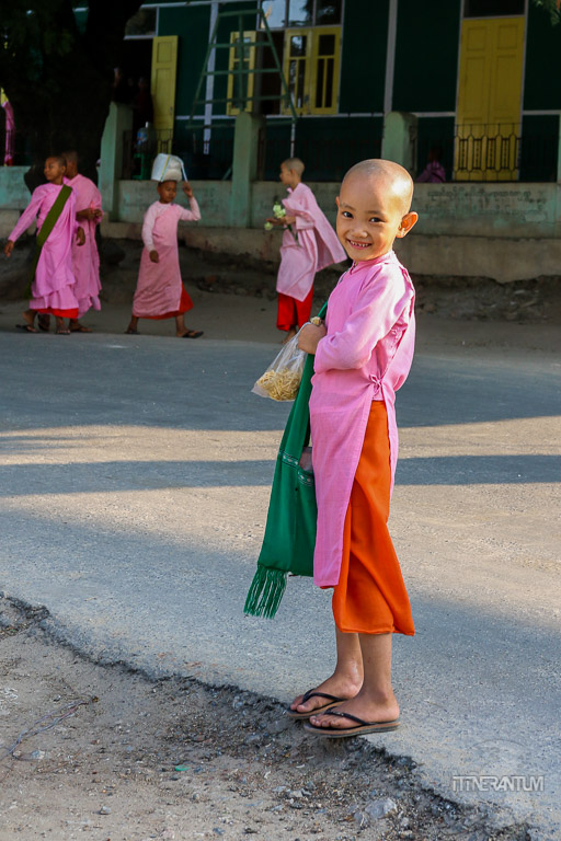 Young buddhist student, happy to pose for us , myanmar people