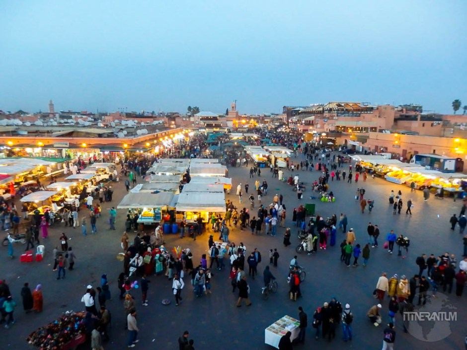 View over Jemaa el-Fnaa from Cafe Glacier top terrace
