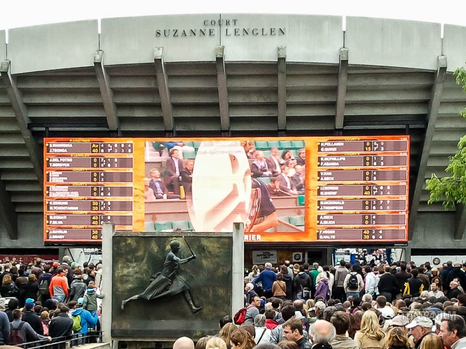 the main screen at roland garros
