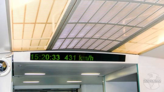 Maglev train displaying the top speed