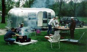 Camping at Kickapoo State Park with our 1969 Airstream Safari.
