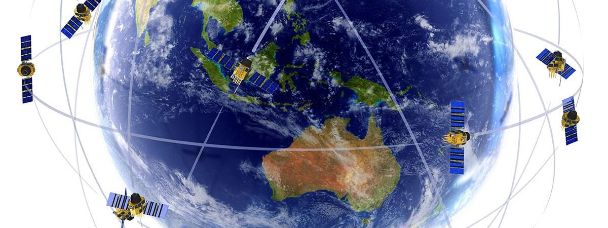 GPS satellites around globe