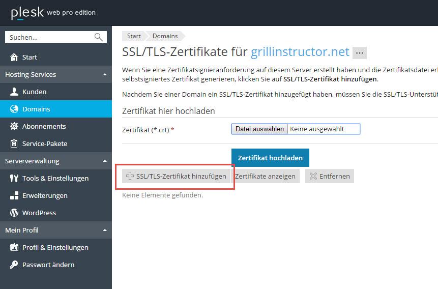 Plesk – SSL – HTTPS auf Domain aktivieren mit Zertifikat von Schlundtech