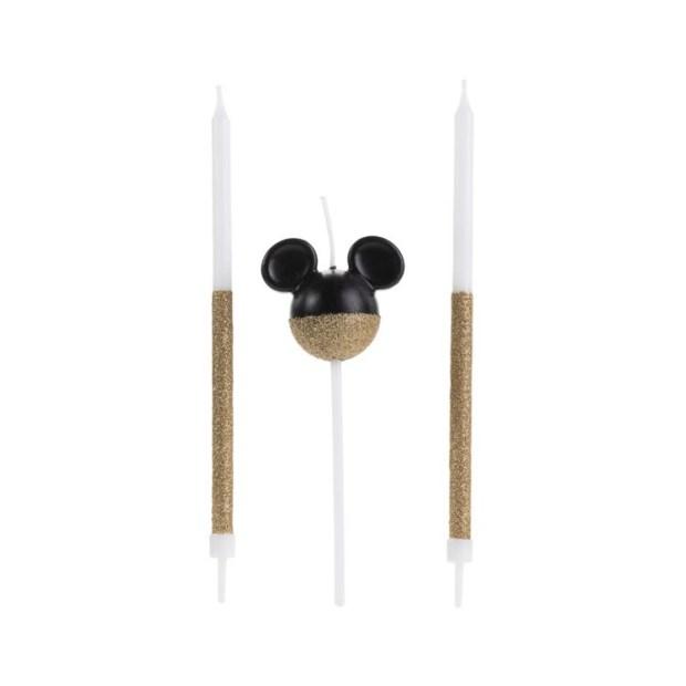 Trio de velas dourado Mickey Festa Disney - It Mãe
