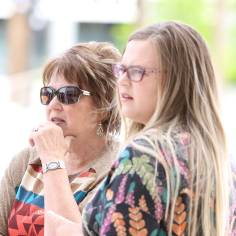Carol Bundy, left, wife of rancher Cliven Bundy, and her daughter Bailey Louge as they await the jury's verdict in the first Bunkerville standoff trial outside the Lloyd George U.S. Courthouse on Monday, April 24, 2017, in Las Vegas. Bizuayehu Tesfaye Las Vegas Review-Journal @bizutesfaye