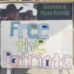 A protestor's sign outside the Lloyd George U.S. Courthouse as a jury has reached a verdict in the first trial of men charged in the 2014 armed standoff in Bunkerville, Monday, April 24, 2017. Bizuayehu Tesfaye Las Vegas Review-Journal @bizutesfaye