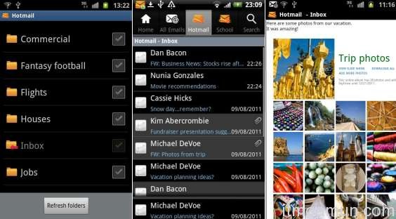 Hotmail, Android, iOS 5