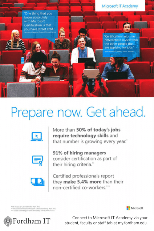 Microsoft IT Academy for Fordham students, faculty and staff