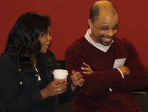 Tiffany Schreiber, Cisco Applications Consulting Engineer, and Teddy Francois, Fordham IT Cloud/Agile Systems Mgmt Team member, enjoy a moment at Faculty Technology Day 2016.