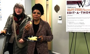 Jane Suda (Fordham Libraries) with Heather Hart (Wikimedia NYC)