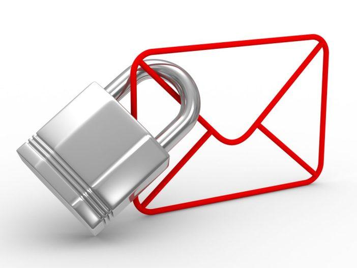 Envelope with padlock