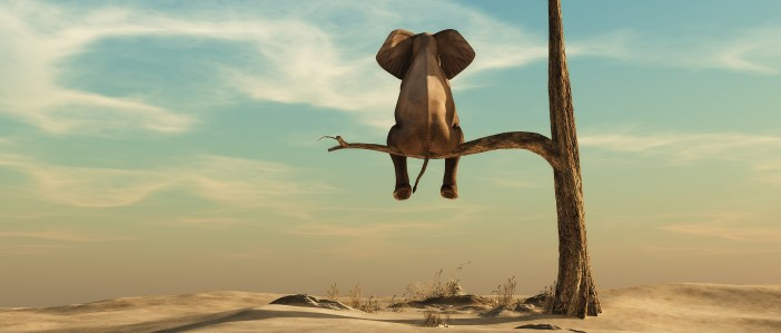 Elephant stands on thin branch of withered tree in surreal landscape.