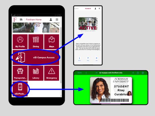 eID screenshot of mobile app, door access, and photo id card