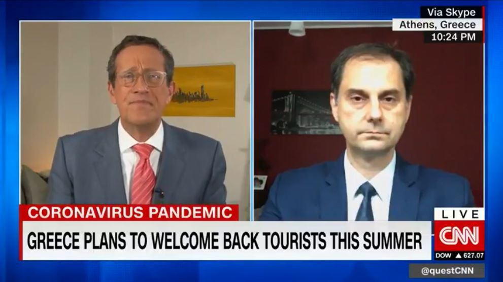 Συνέντευξη του Υπουργού Τουρισμού κ. Χάρη Θεοχάρη στον Richard Quest στο  CNN