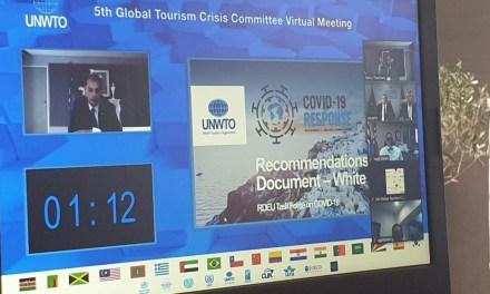 Ο υπουργός Τουρισμού κ. Χ. Θεοχάρης παρέδωσε στον ΠΟΤ την «Λευκή Βίβλο για την Αντιμετώπιση των Συνεπειών του Κορωνοϊού»