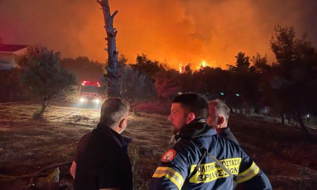 Περιφέρεια Αττικής : Άμεση συνδρομή στο έργο κατάσβεσης της πυρκαγιάς στη Ν. Μάκρη