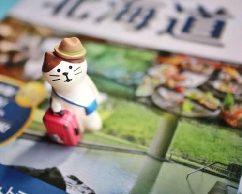 旅行カバンを持った猫と観光パンフレット