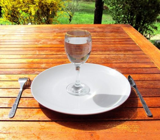 A glass of water on a plate